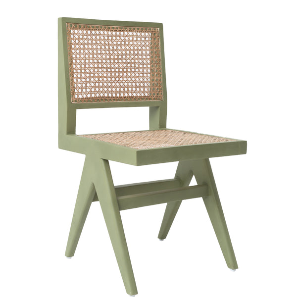 CANE DINING CHAIR - MOSS GREEN