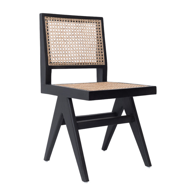 CANE DINING CHAIR - BLACK/GREY WASH
