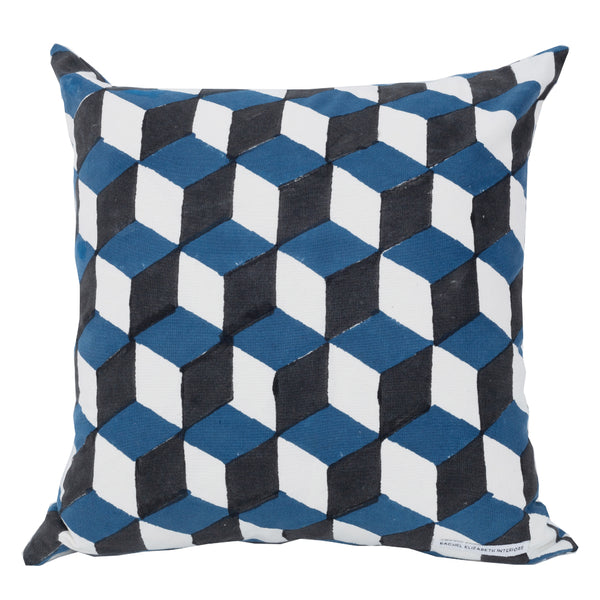 GEO CUSHION - BLUE & BLACK (COVER ONLY)