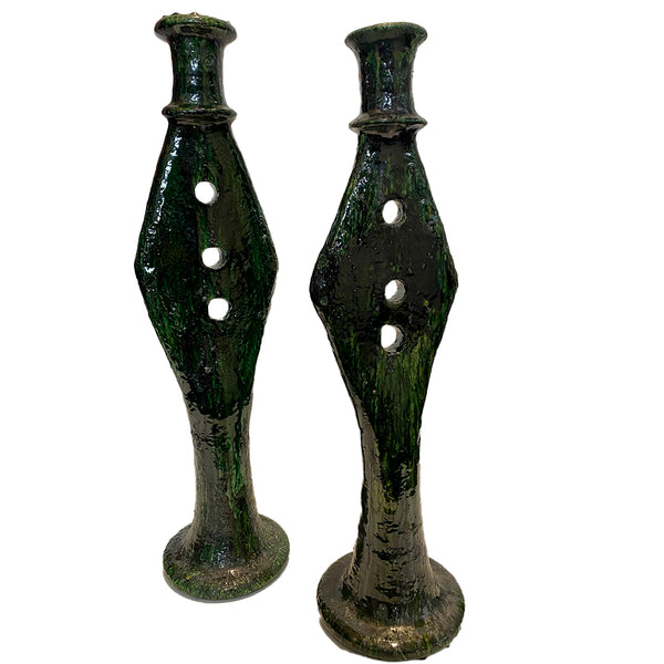 TAMEGROUTE CERAMIC CANDLE HOLDERS - S/2