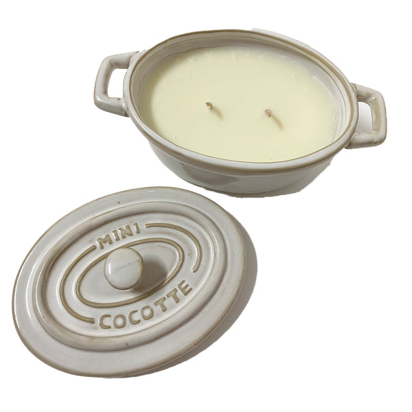 CERAMIC CANDLE WITH LID - Verbena & Fig Leaf