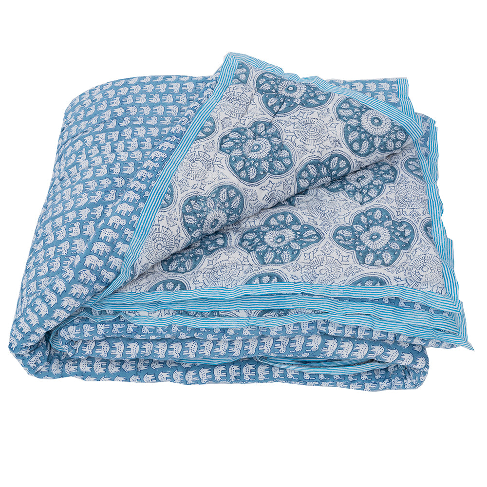 HAND BLOCK PRINTED COTTON HASTIN BED QUILT - Double