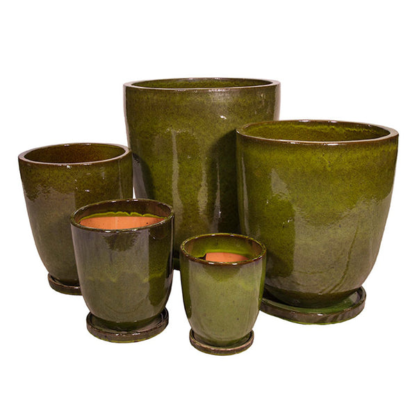 Tall Round Glazed Pot/s - Tropical Green