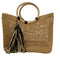 RAFFIA TOTE BAG w/ TASSEL & WOODEN HANDLE