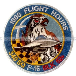 "HELLENIC AIR FORCE 340SQN ""FOX"" 1000 FLIGHT HRS  F-16 PILOT PATCH 115CW SOUDA AFB"