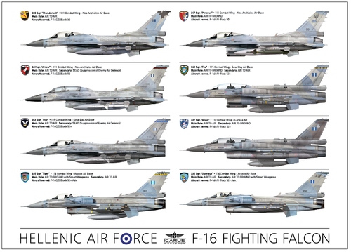 WALL POSTER HAF F-16 FIGHTING FALCON SQUADRONS 50X70cm