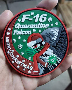 F-16 QUARANTINE FALCON GREEN PVC PATCH