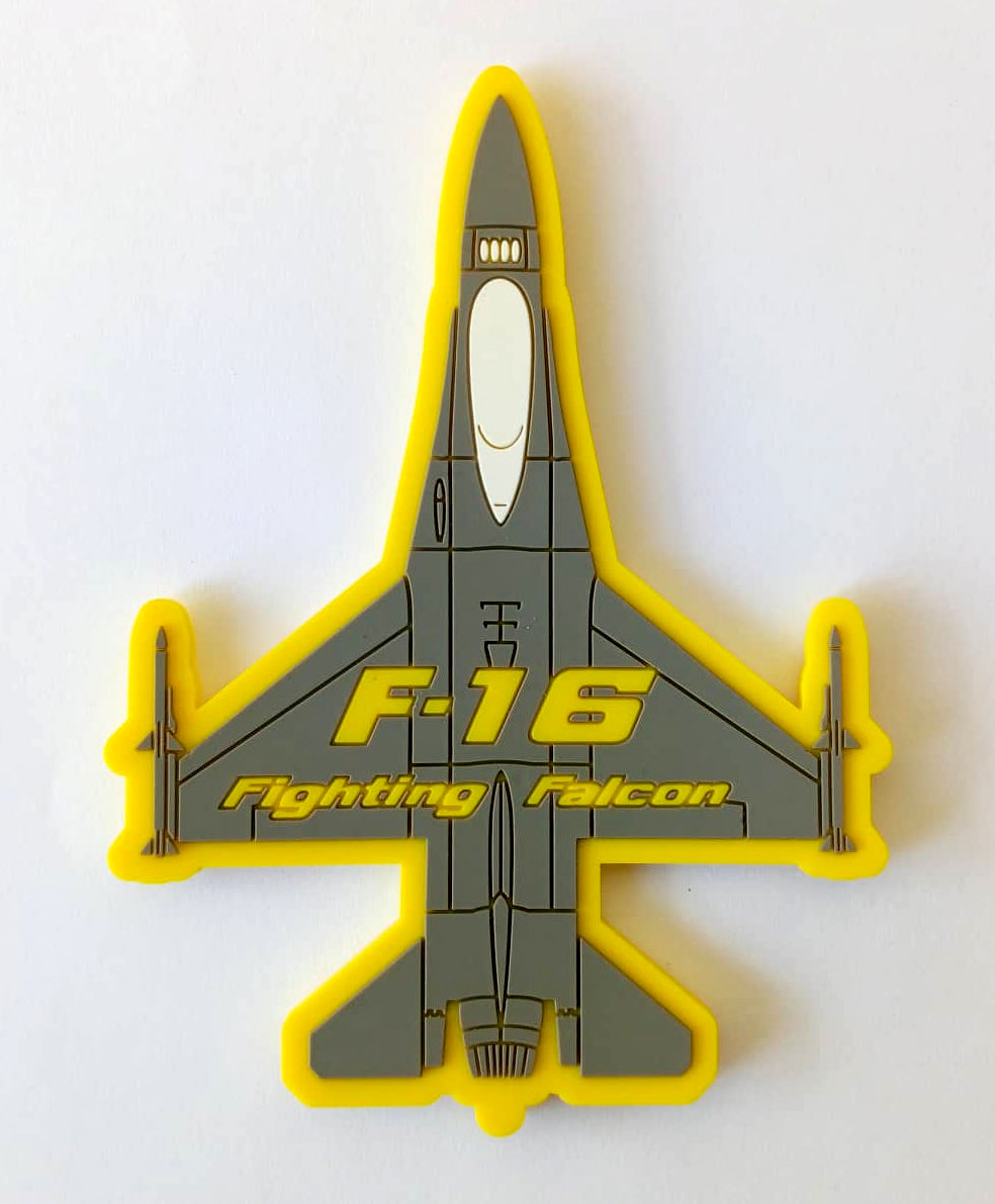 F-16 FIGHTING FALCON YELLOW SILHOUETTE PVC PATCH