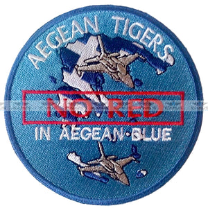 "HELLENIC AIR FORCE 335SQN ""AEGEAN TIGER"" NO RED-IN AEGEAN BLUE F-16 PILOT PATCH"