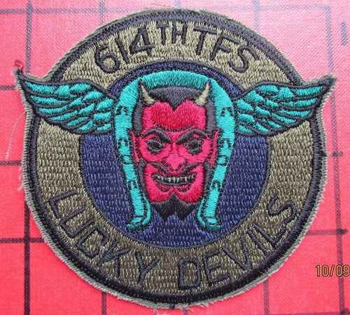 ORIGINAL AIR FORCE SQUADRON PILOT PATCH USAFE 614 TFS F-4 PHANTOM ERA TORREJON