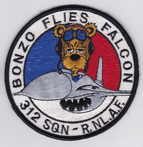 ORIGINAL RNLAF F-16 PILOT PATCH Bonzo Flies Falcon 312 Squadron from 1984