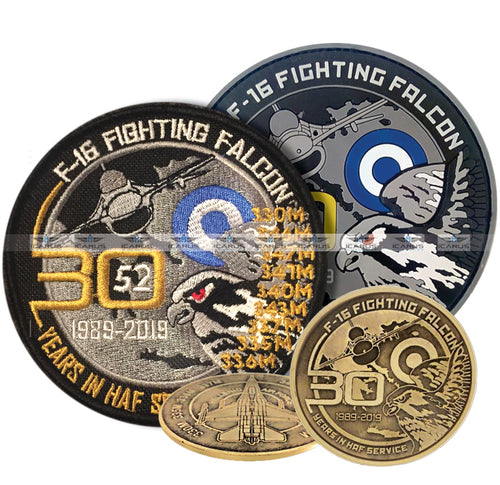 47. F-16 FIGHTING FALCON 30 YEARS IN HAF SERVICE ANNIVERSARY COIN AND PATCHES