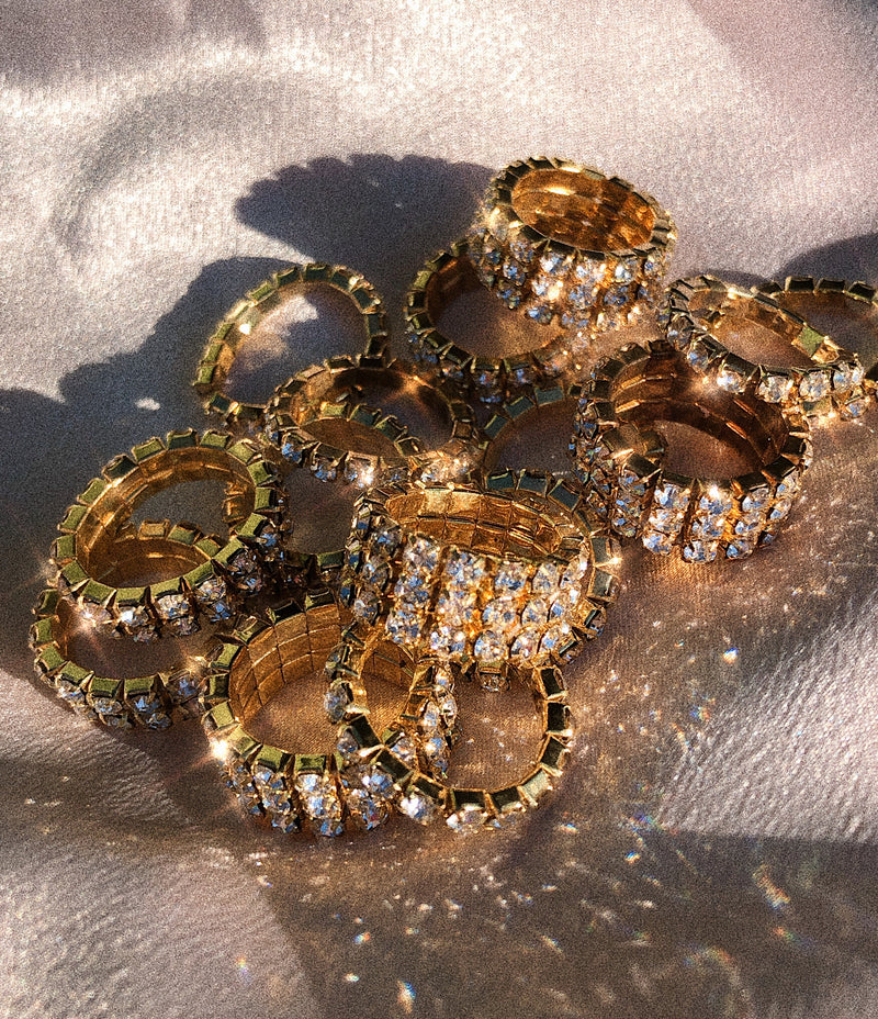 Diamanté Rings - Gold