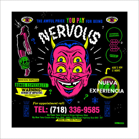 """Nervous"" (black light print)"