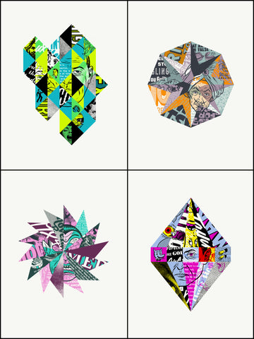 Geometric Collage - Set of 4 Prints