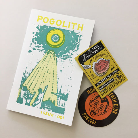 """POGOLITH #001"" zine, ""By The Skin of our Teeth"" lapel pin, and sticker set"