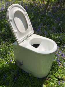 Long drop compost toilet with urine diverter