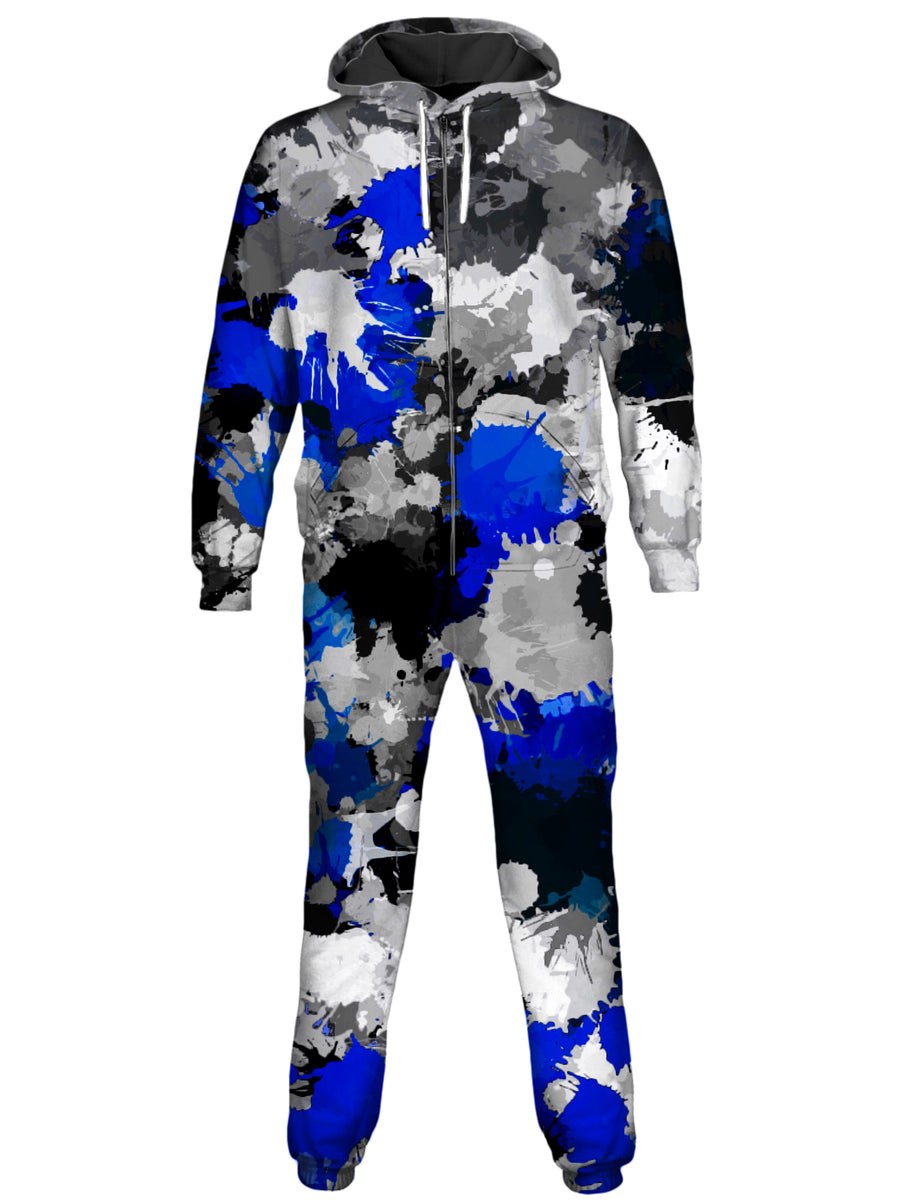 Blue and Grey Paint Splatter Onesie