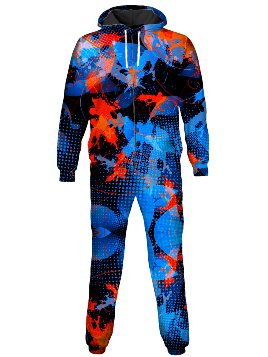 Blue and Orange Paint Splatter Onesie
