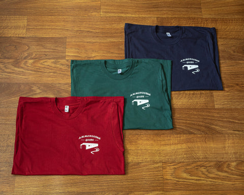 Ammonoosuc goods tee navy forest red