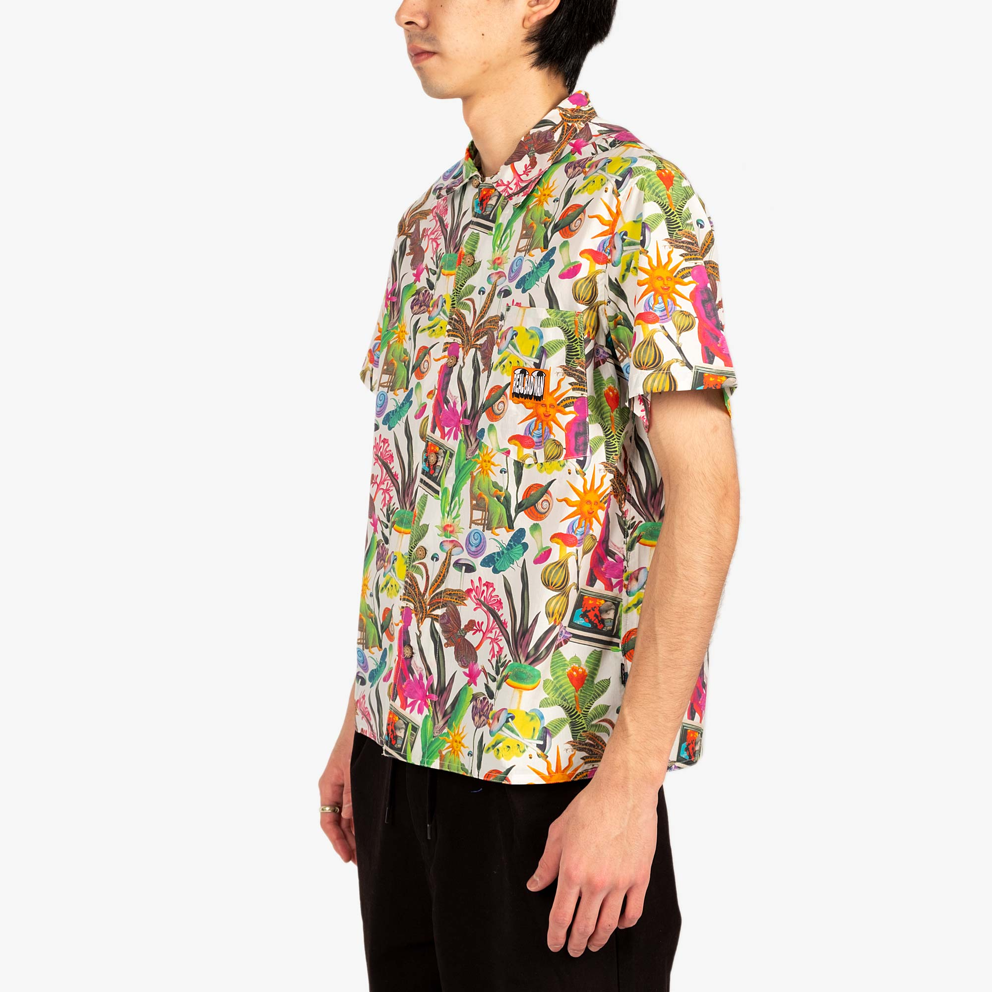 Real Bad Man Psychedelica Vacation Button Down - Black Multi Print 5