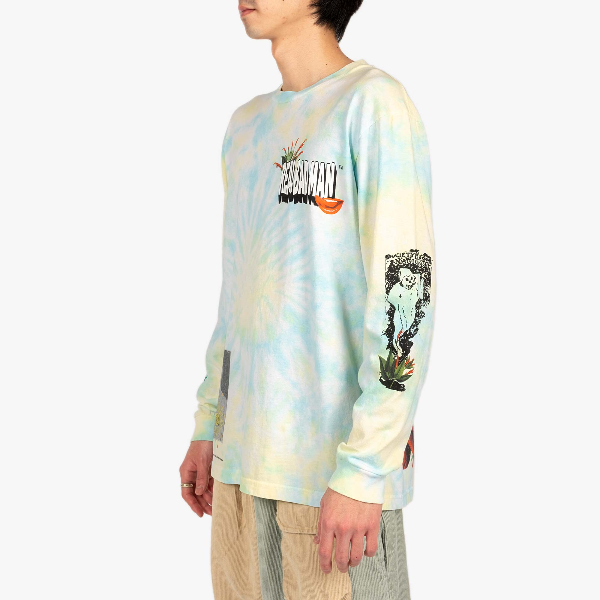 Real Bad Man From Outer Space LS Tee - Aqua / Yellow 6