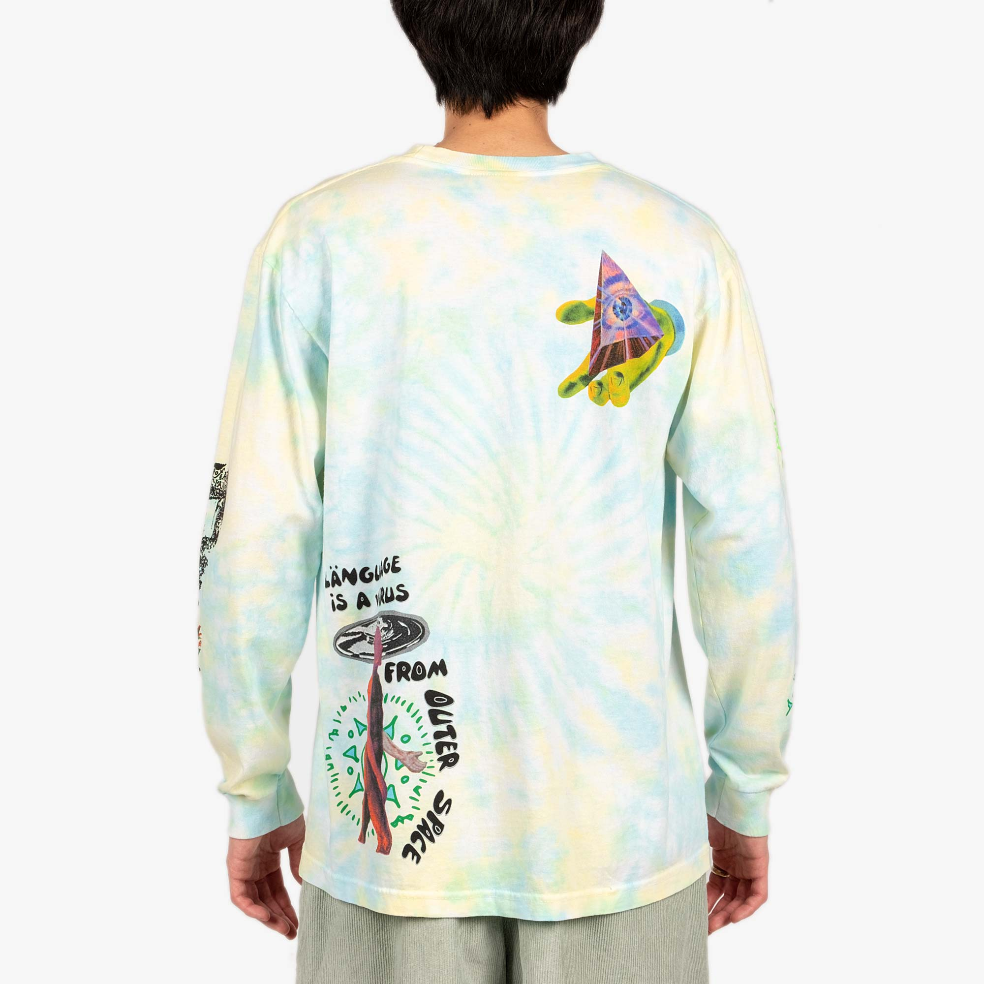 Real Bad Man From Outer Space LS Tee - Aqua / Yellow 8