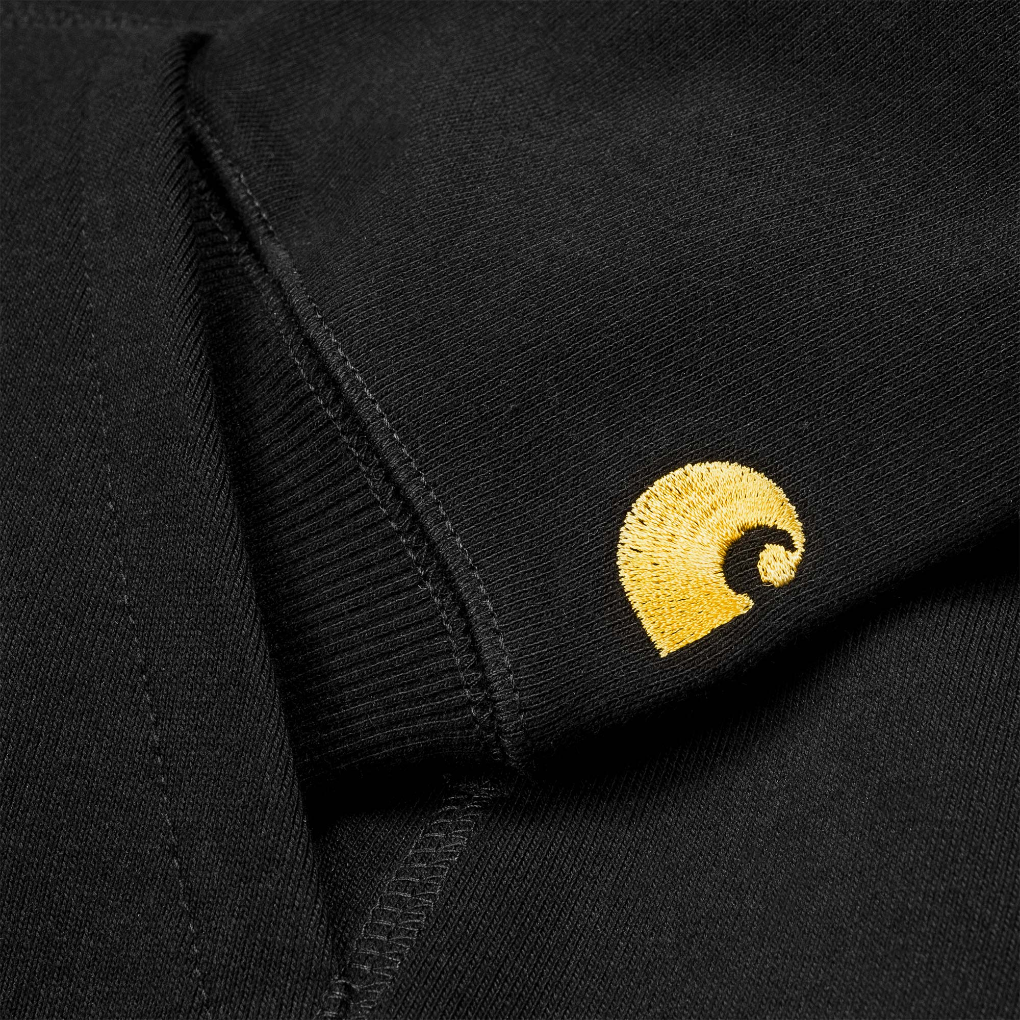 Carhartt WIP Hooded Chase Sweat - Black / Gold 3