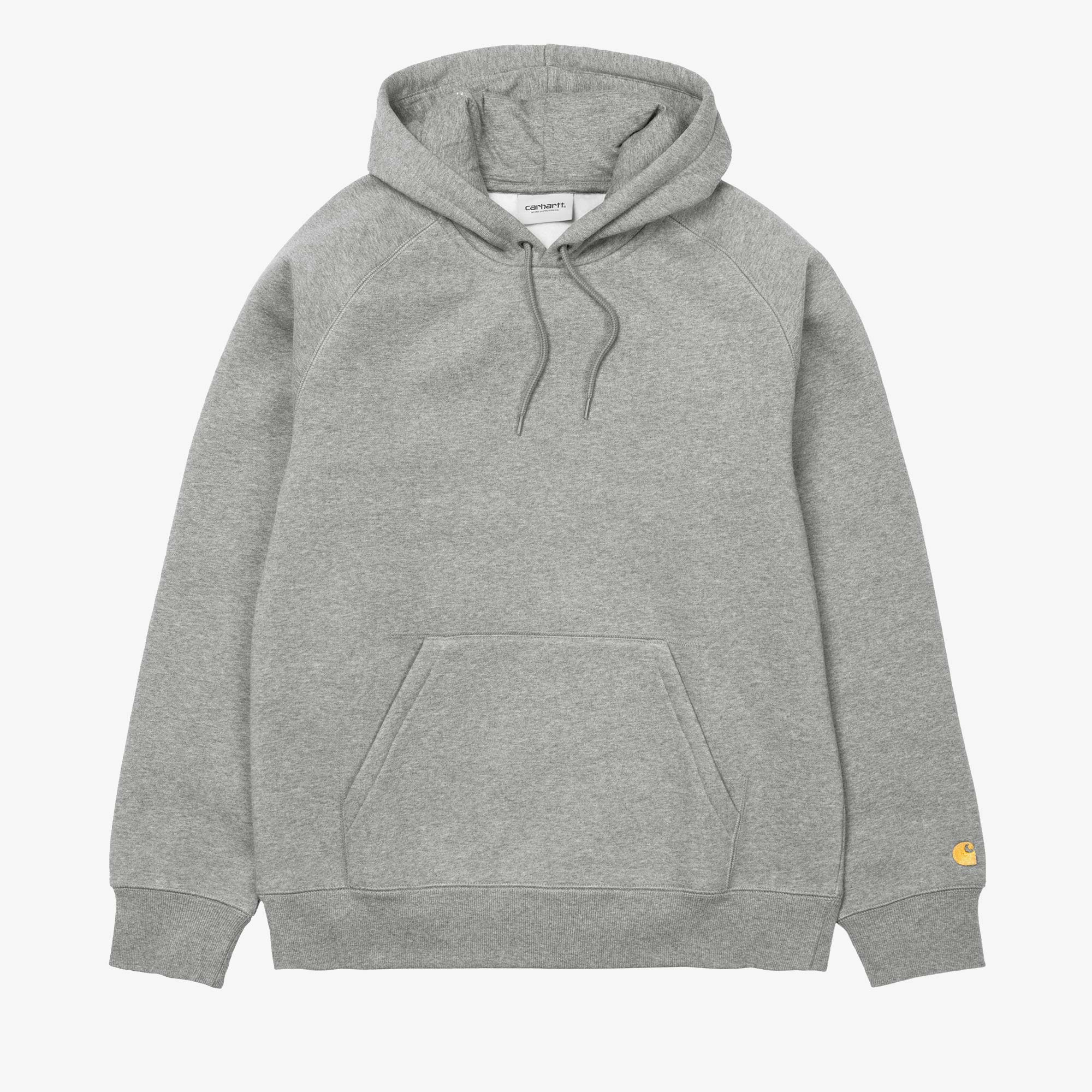 Carhartt WIP Hooded Chase Sweat - Grey Heather / Gold 1