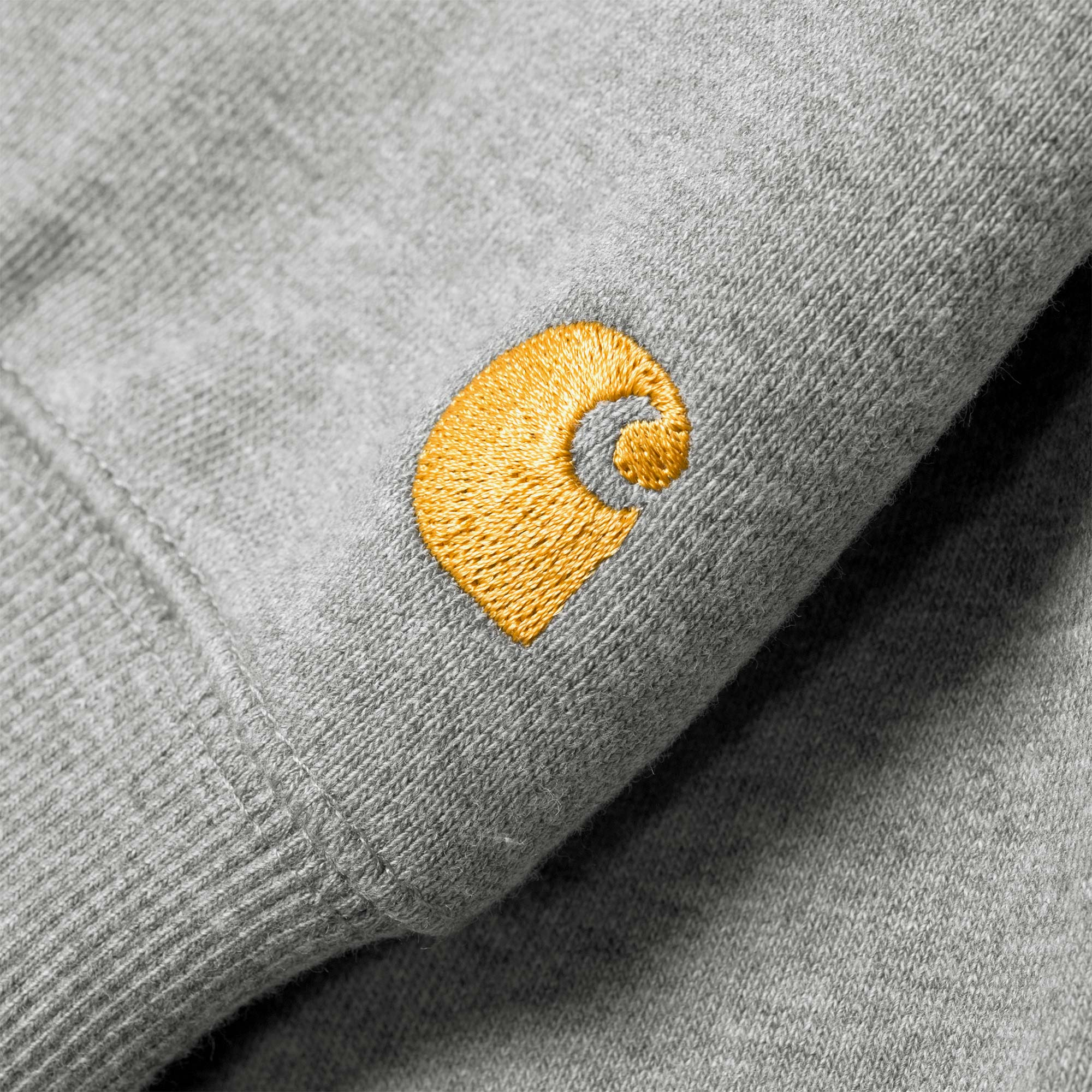 Carhartt WIP Hooded Chase Sweat - Grey Heather / Gold 2