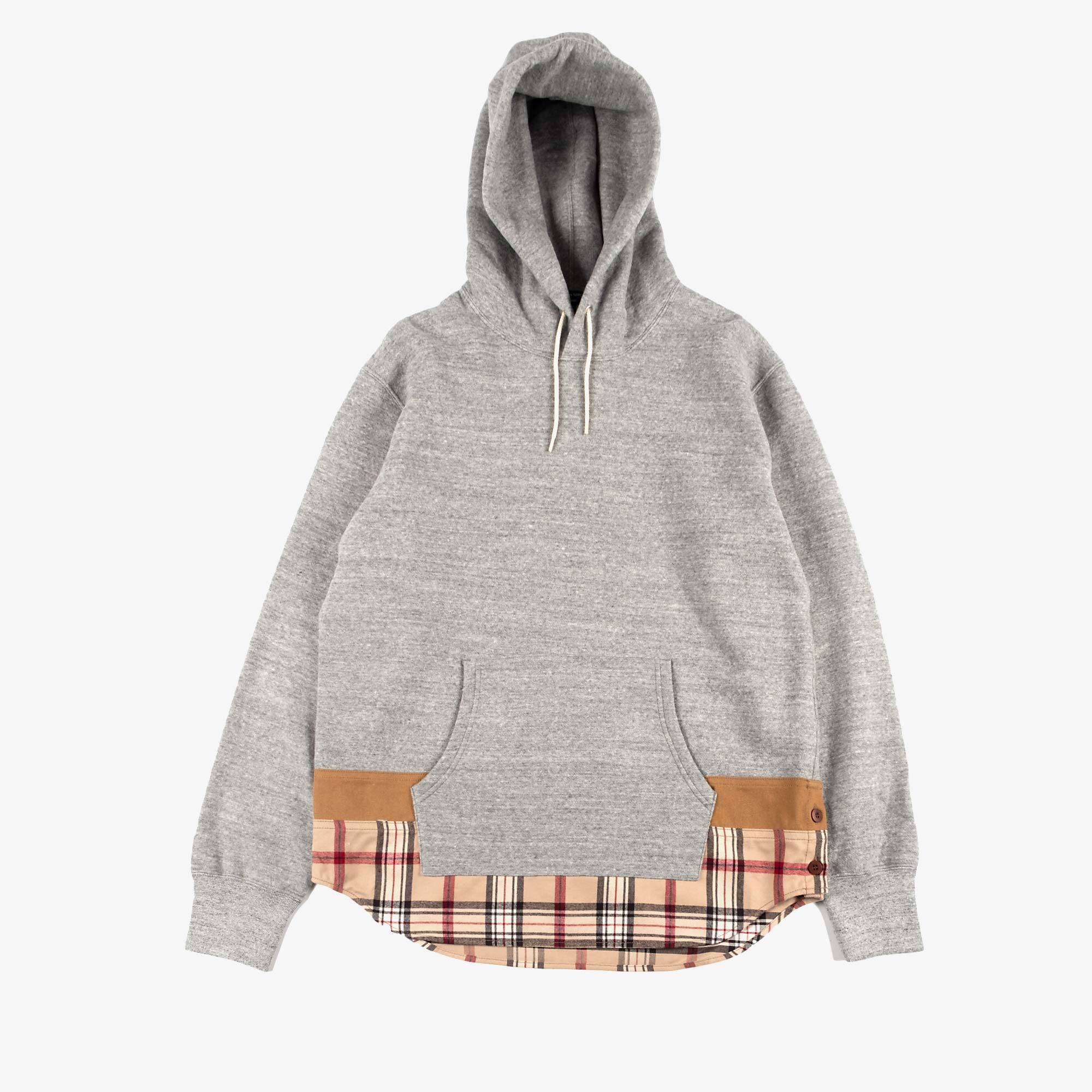 Comme des Garçons - Homme Checked Hem Pullover Hooded Sweat T004 - Grey / Multi 1