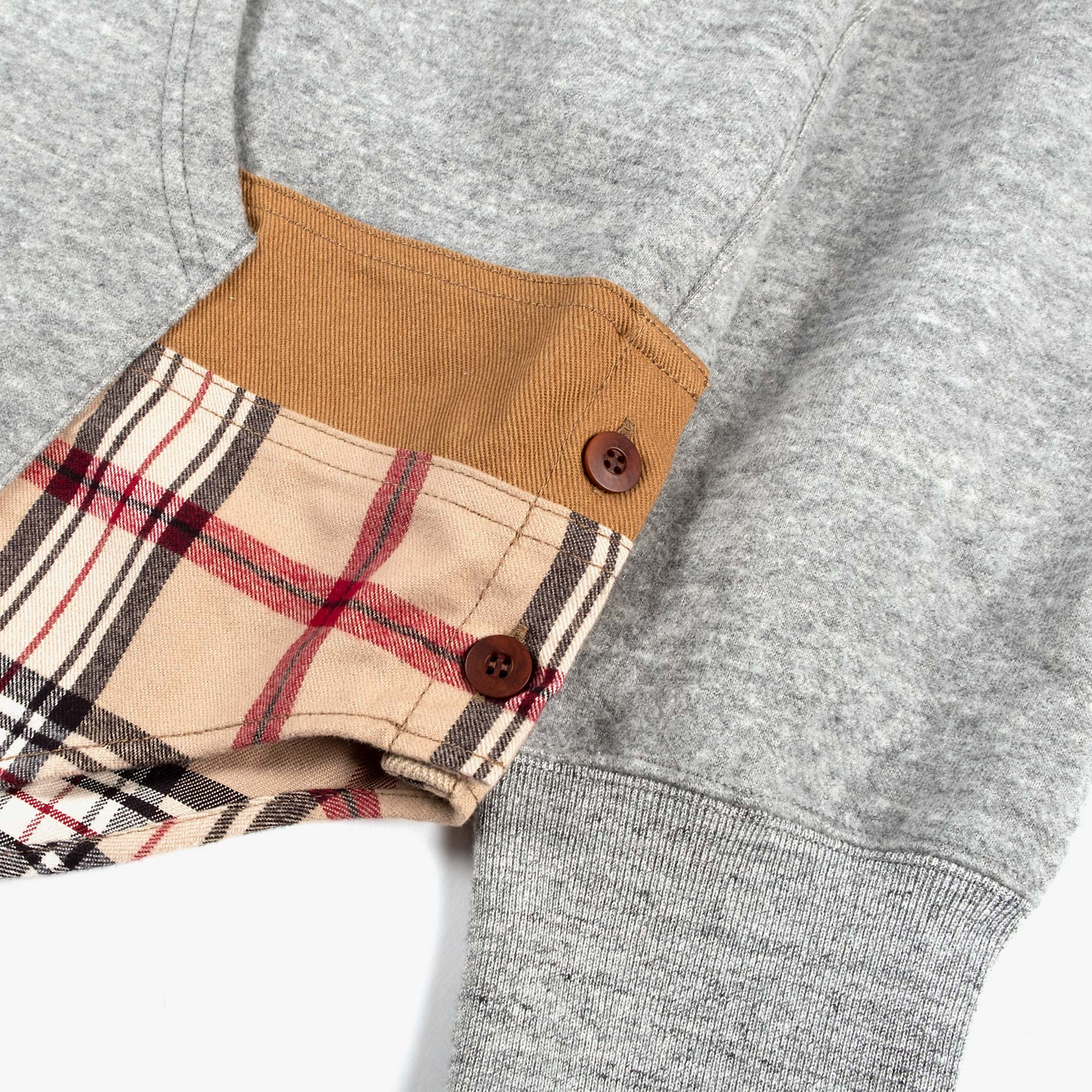 Comme des Garçons - Homme Checked Hem Pullover Hooded Sweat T004 - Grey / Multi 2