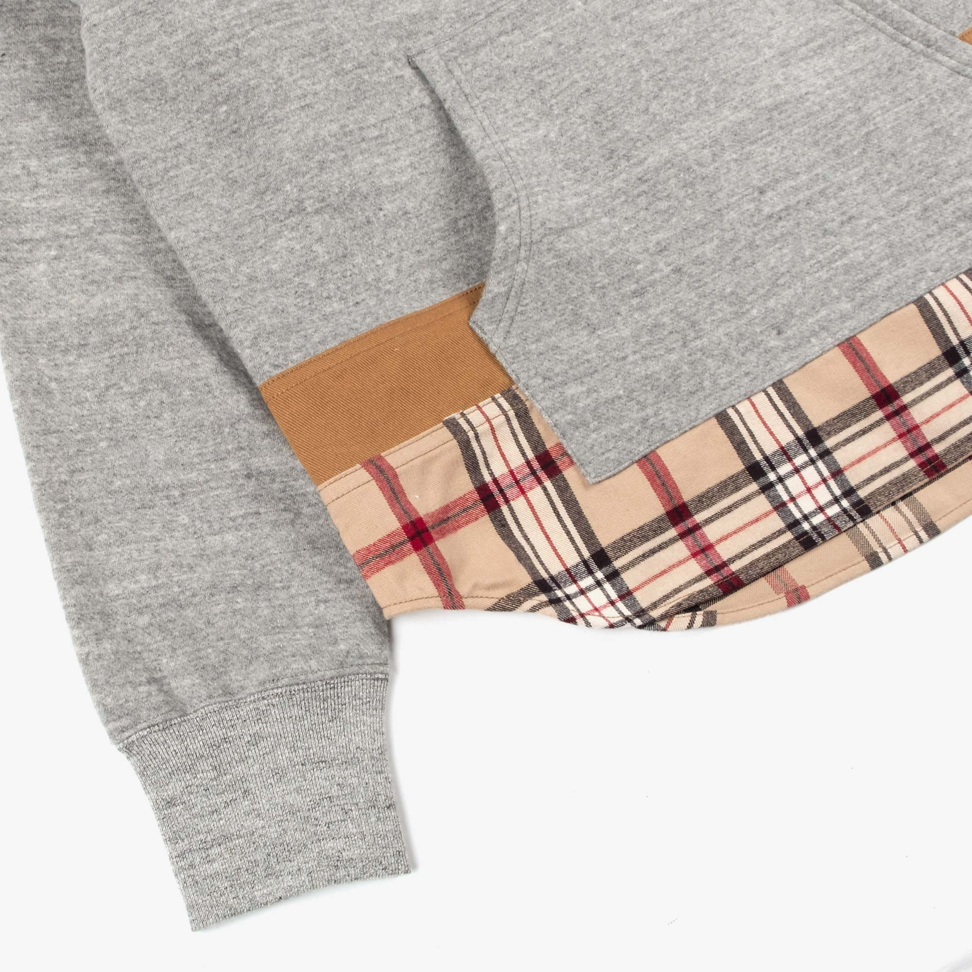 Comme des Garçons - Homme Checked Hem Pullover Hooded Sweat T004 - Grey / Multi 6