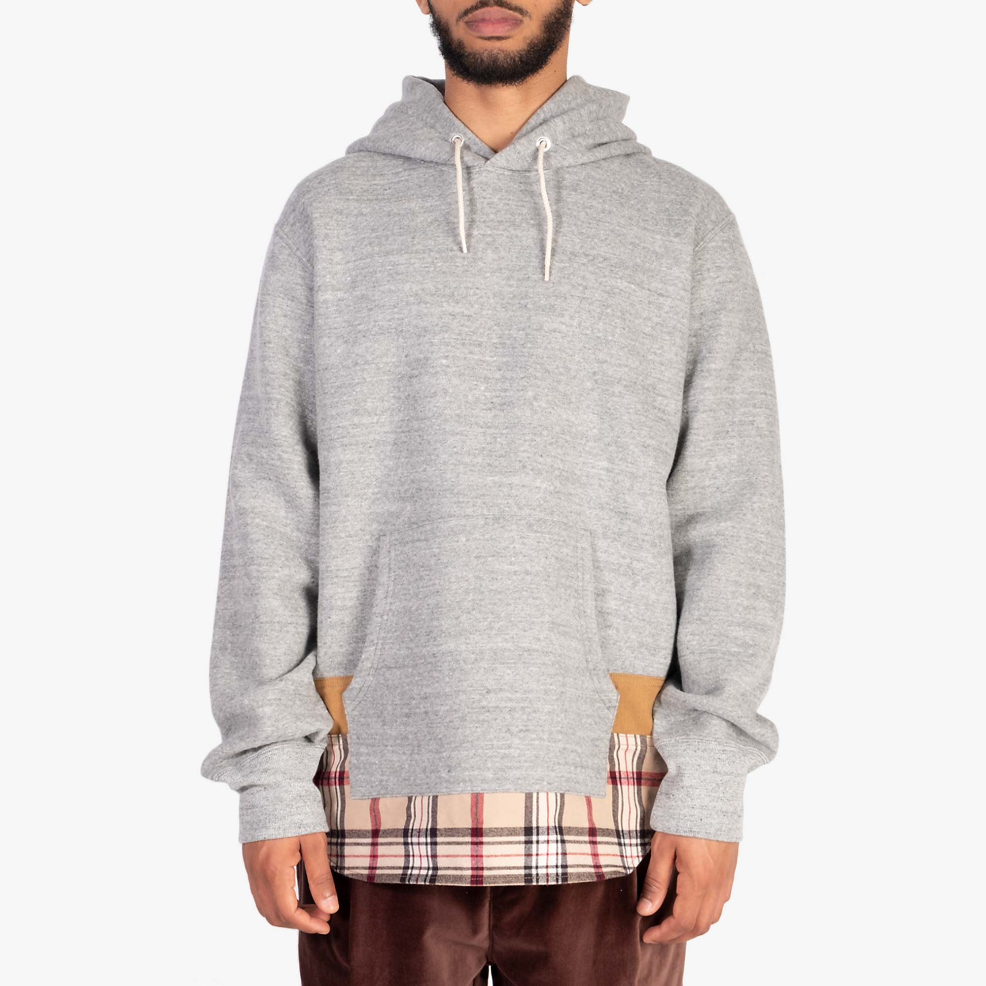 Comme des Garçons - Homme Checked Hem Pullover Hooded Sweat T004 - Grey / Multi 5