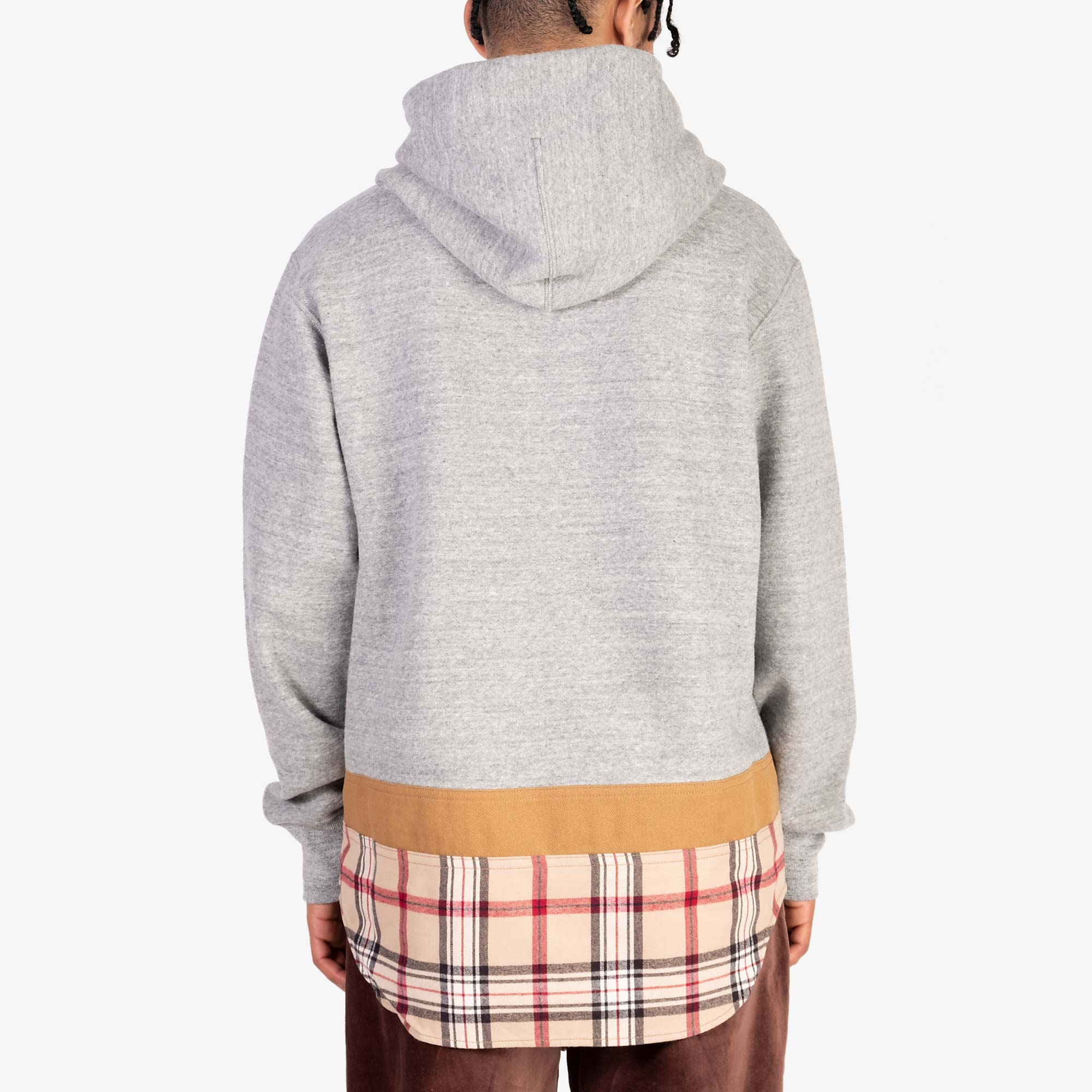 Comme des Garçons - Homme Checked Hem Pullover Hooded Sweat T004 - Grey / Multi 8