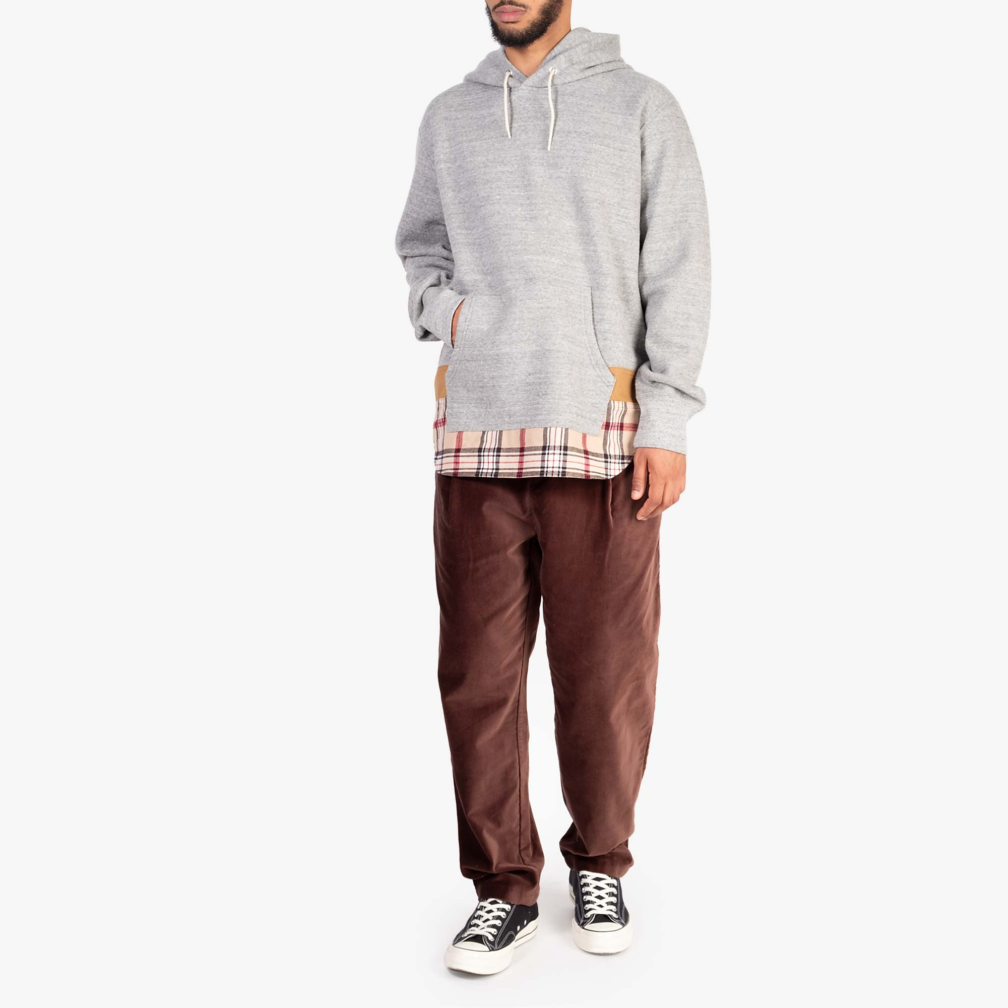 Comme des Garçons - Homme Checked Hem Pullover Hooded Sweat T004 - Grey / Multi 7