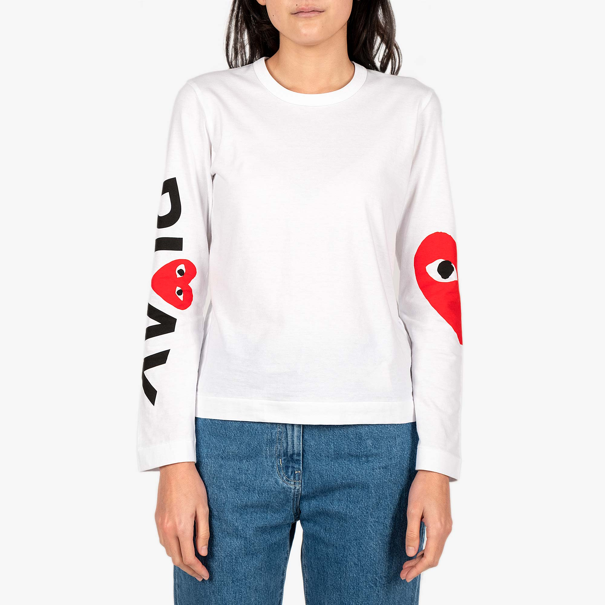 Comme des Garcons - PLAY Big Heart Womens Long Sleeve Tee - White 1