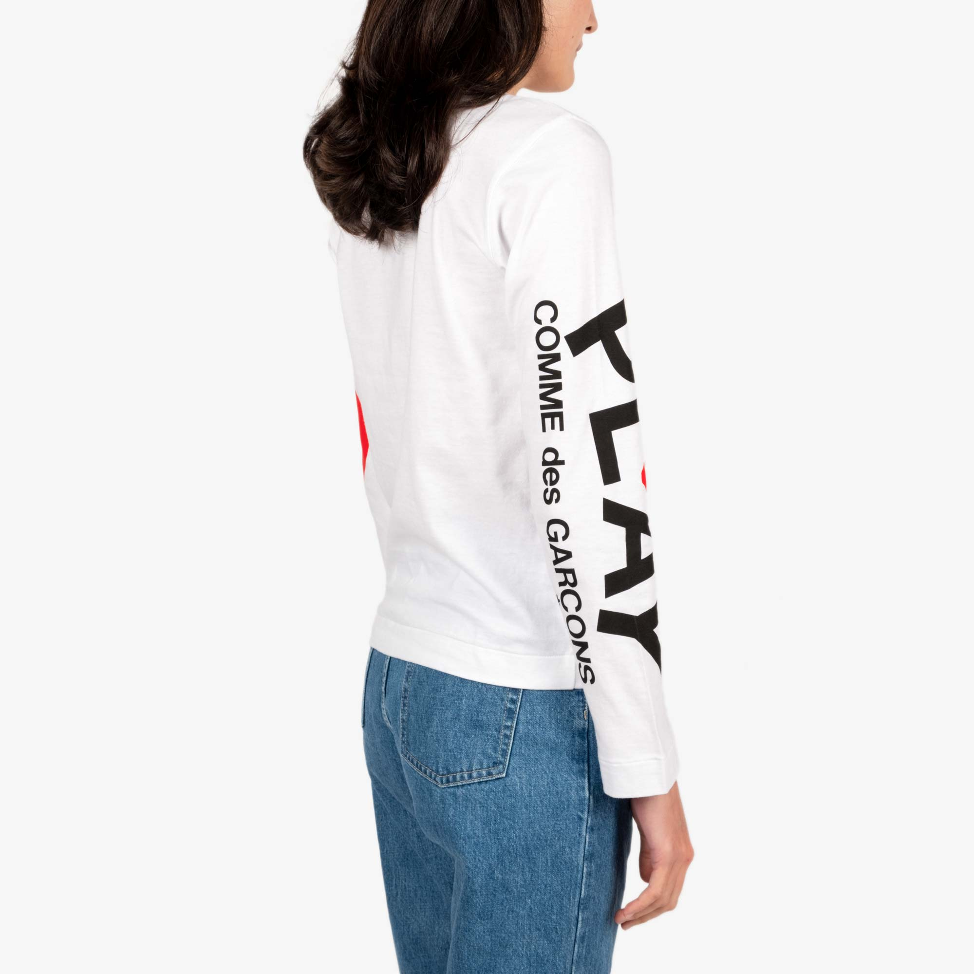 Comme des Garcons - PLAY Big Heart Womens Long Sleeve Tee - White 4