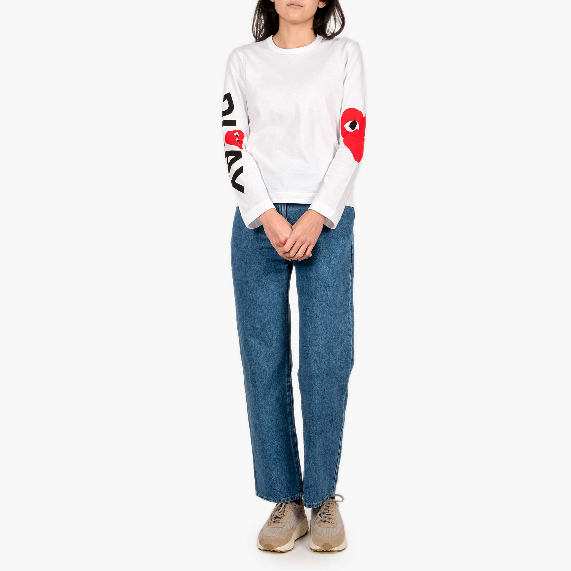 Comme des Garcons - PLAY Big Heart Womens Long Sleeve Tee - White 3