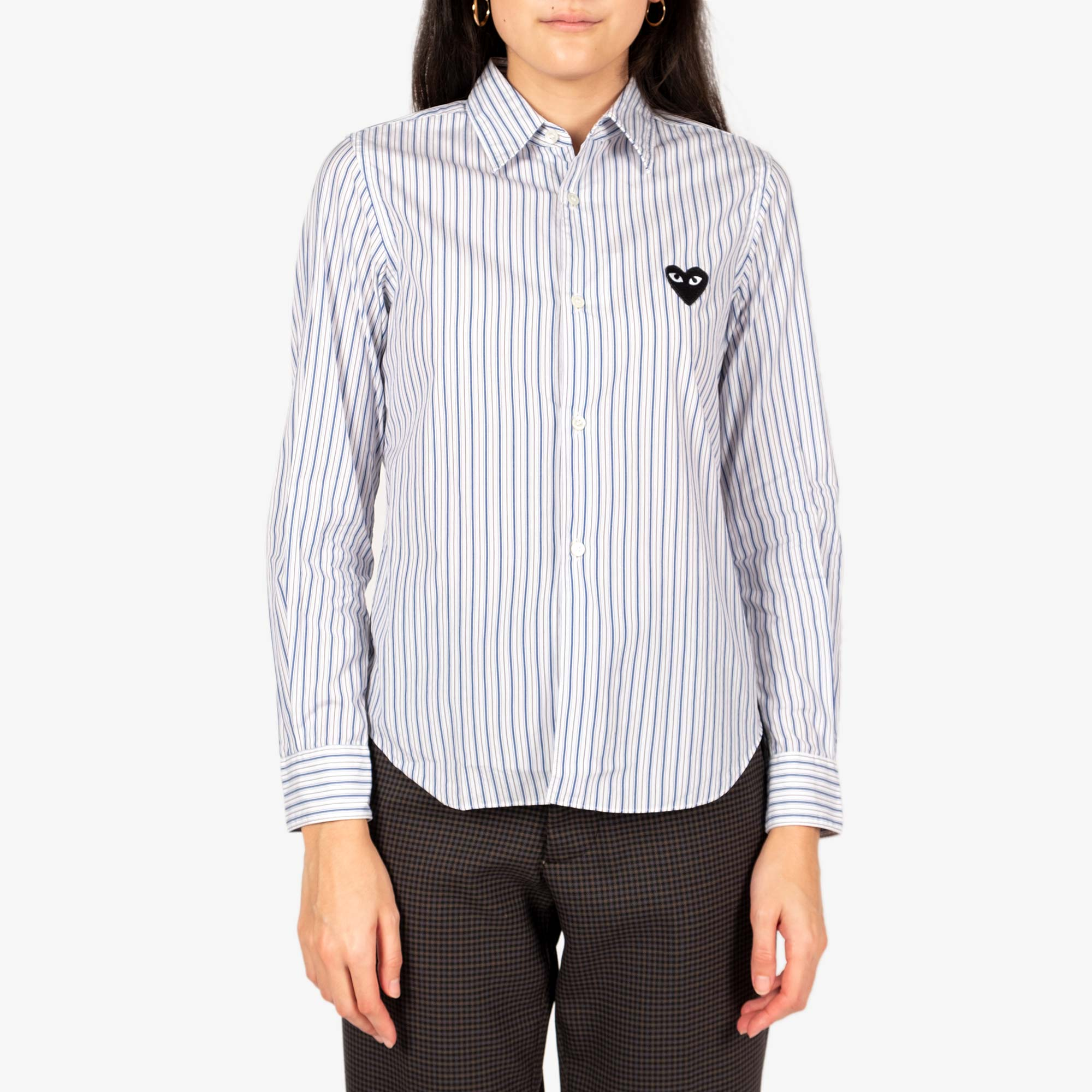 Comme des Garçons - PLAY Black Emblem Stripe Womens Shirt - White / Navy 3