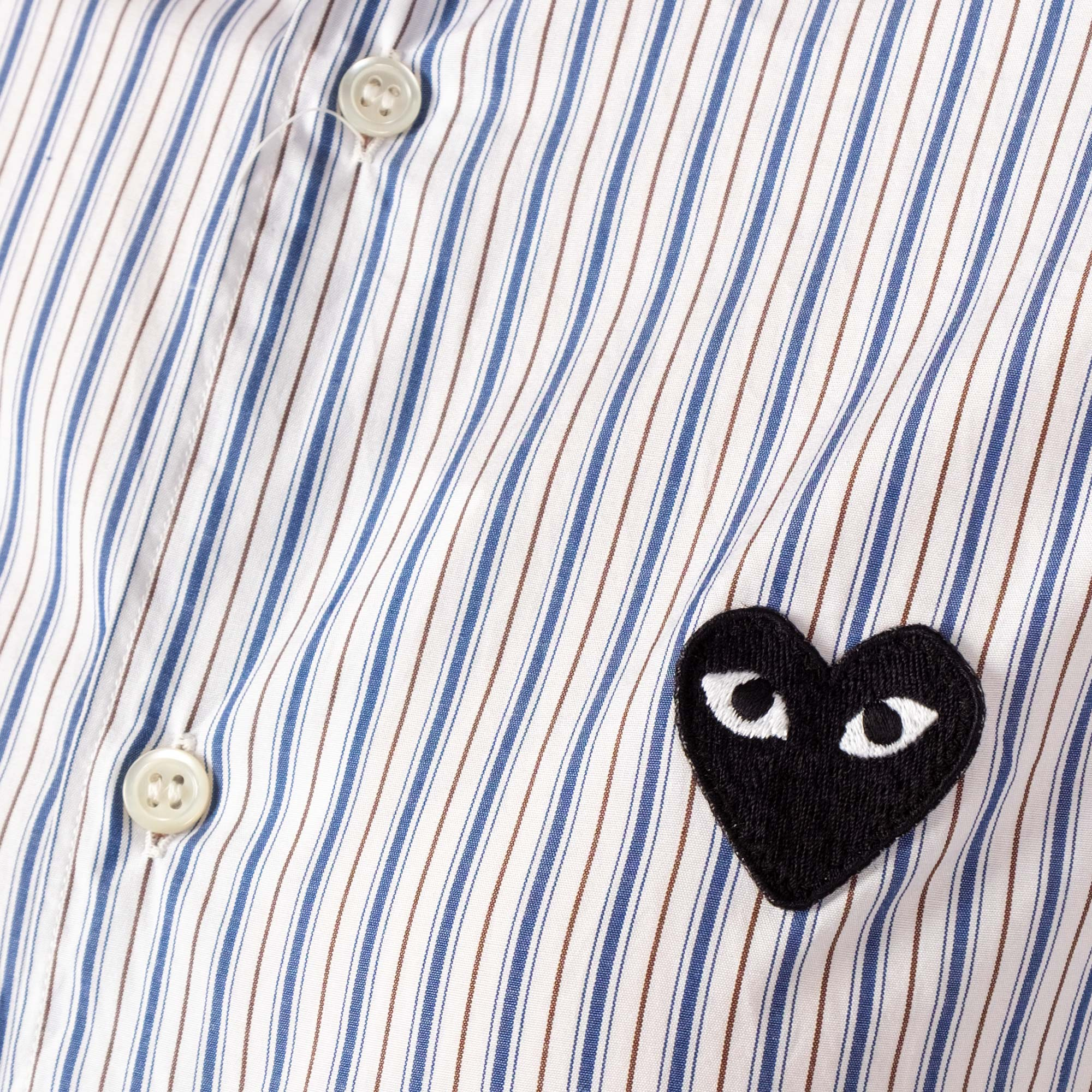 Comme des Garçons - PLAY Black Emblem Stripe Womens Shirt - White / Navy 2