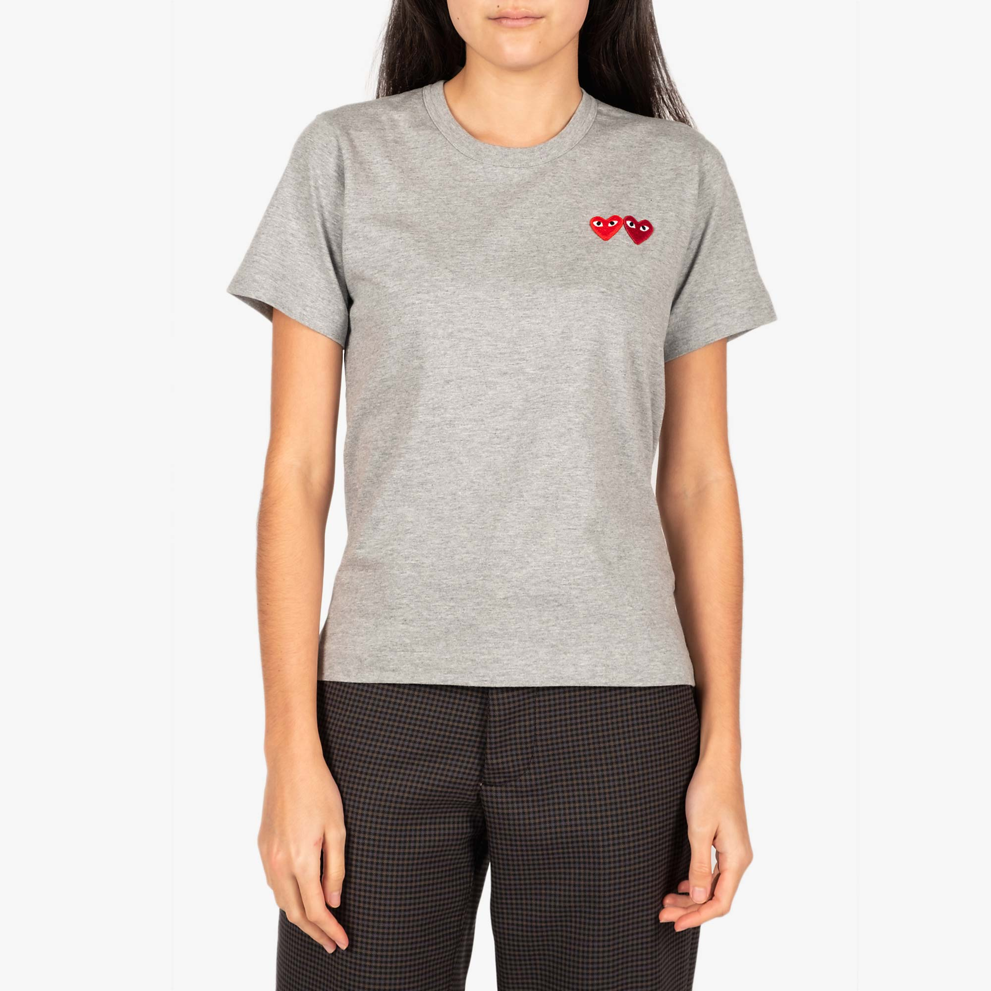 Comme des Garcons - PLAY Womens Double Heart Emblem Tee - Grey 1