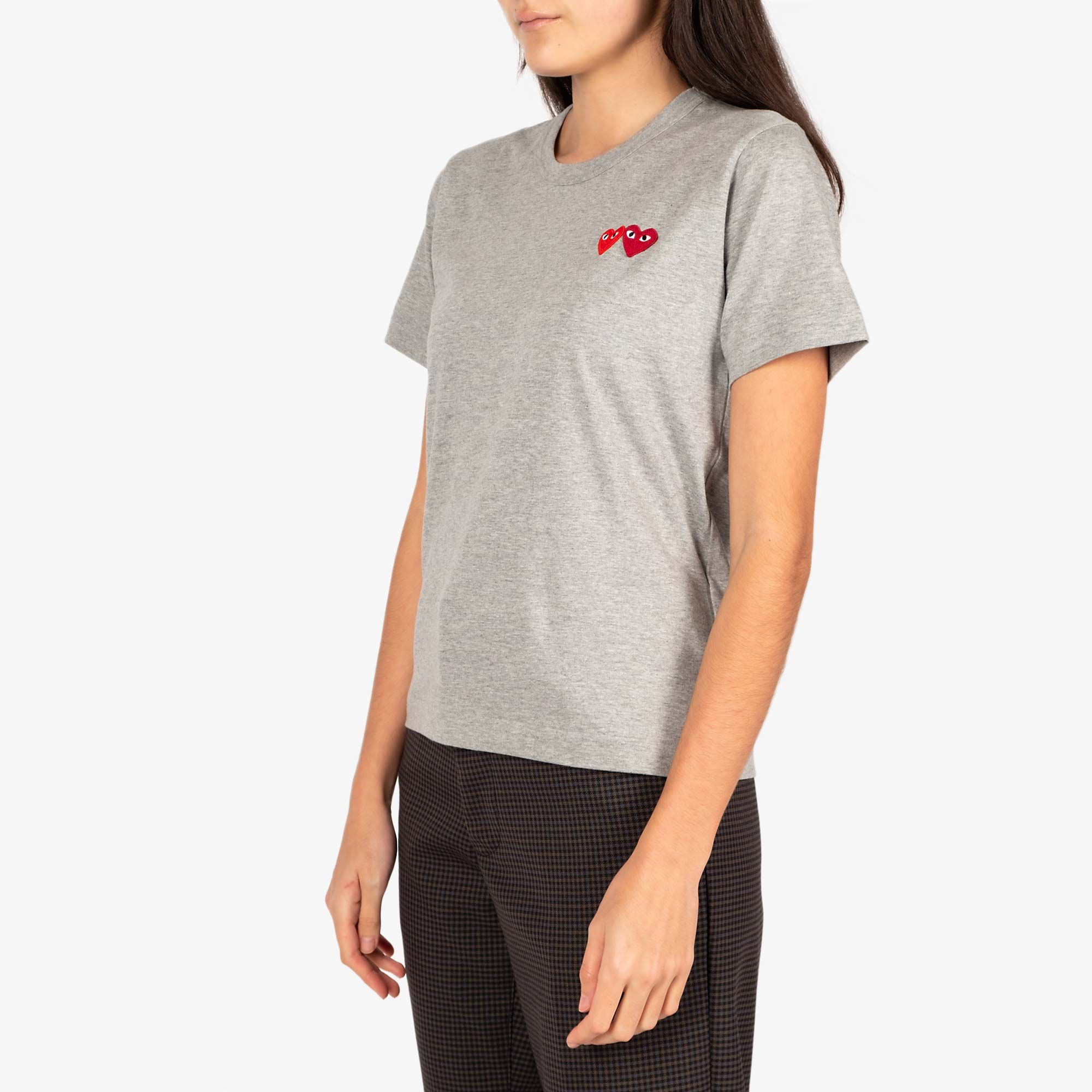 Comme des Garcons - PLAY Womens Double Heart Emblem Tee - Grey 4