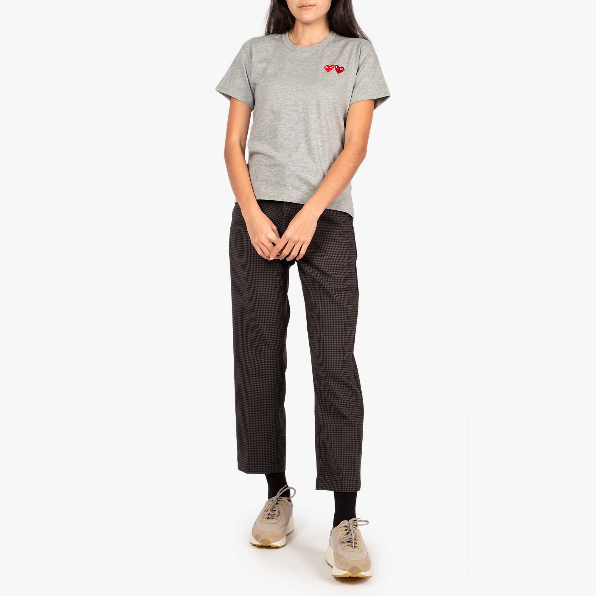Comme des Garcons - PLAY Womens Double Heart Emblem Tee - Grey 3