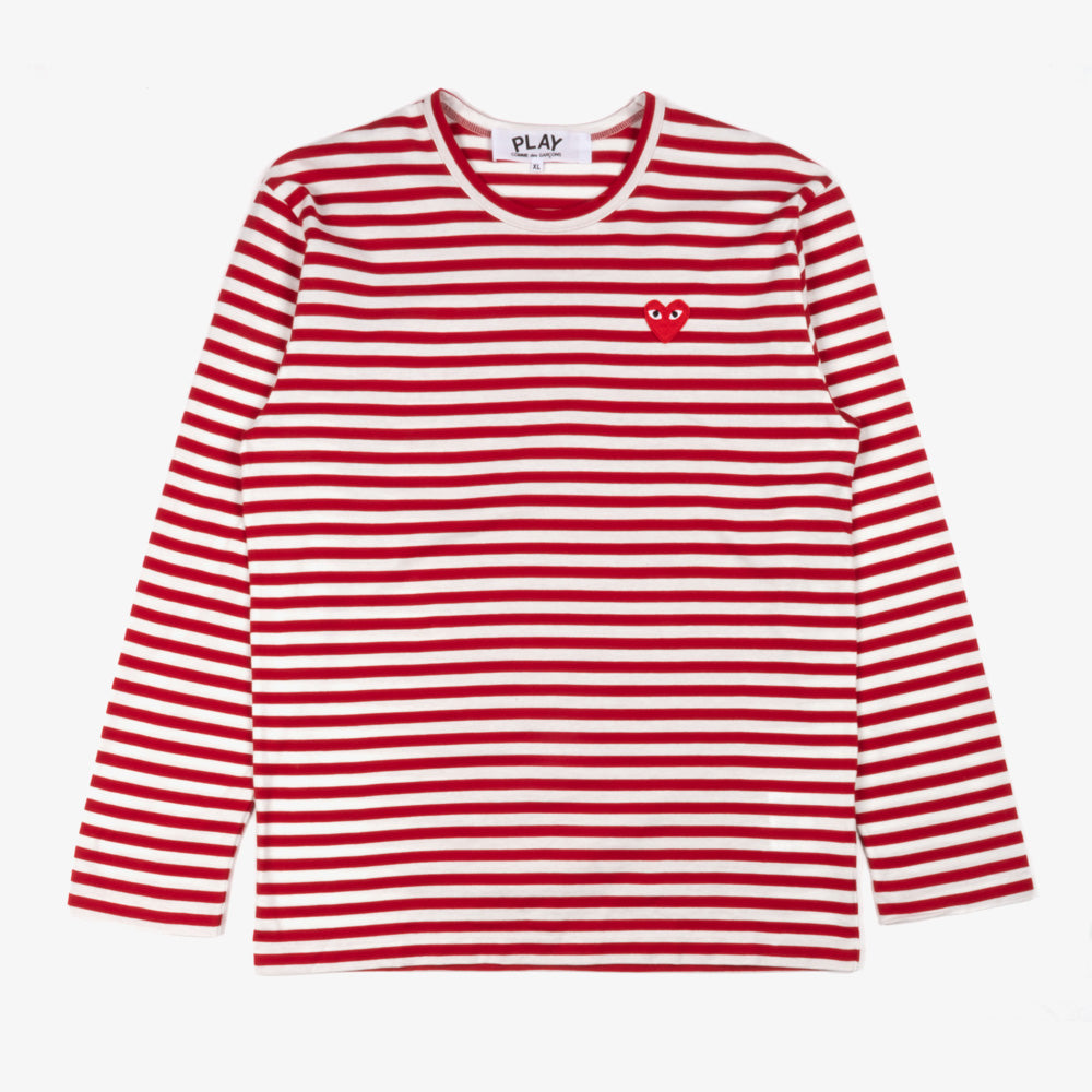 Comme des Garçons - PLAY L/S Stripe Red Heart Emblem Mens Tee - Red / White 1