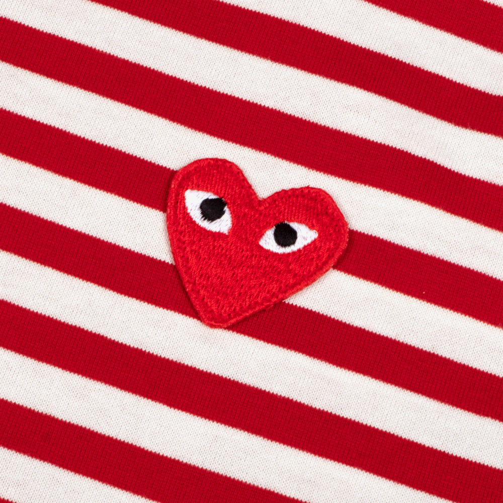 Comme des Garçons - PLAY L/S Stripe Red Heart Emblem Mens Tee - Red / White 3