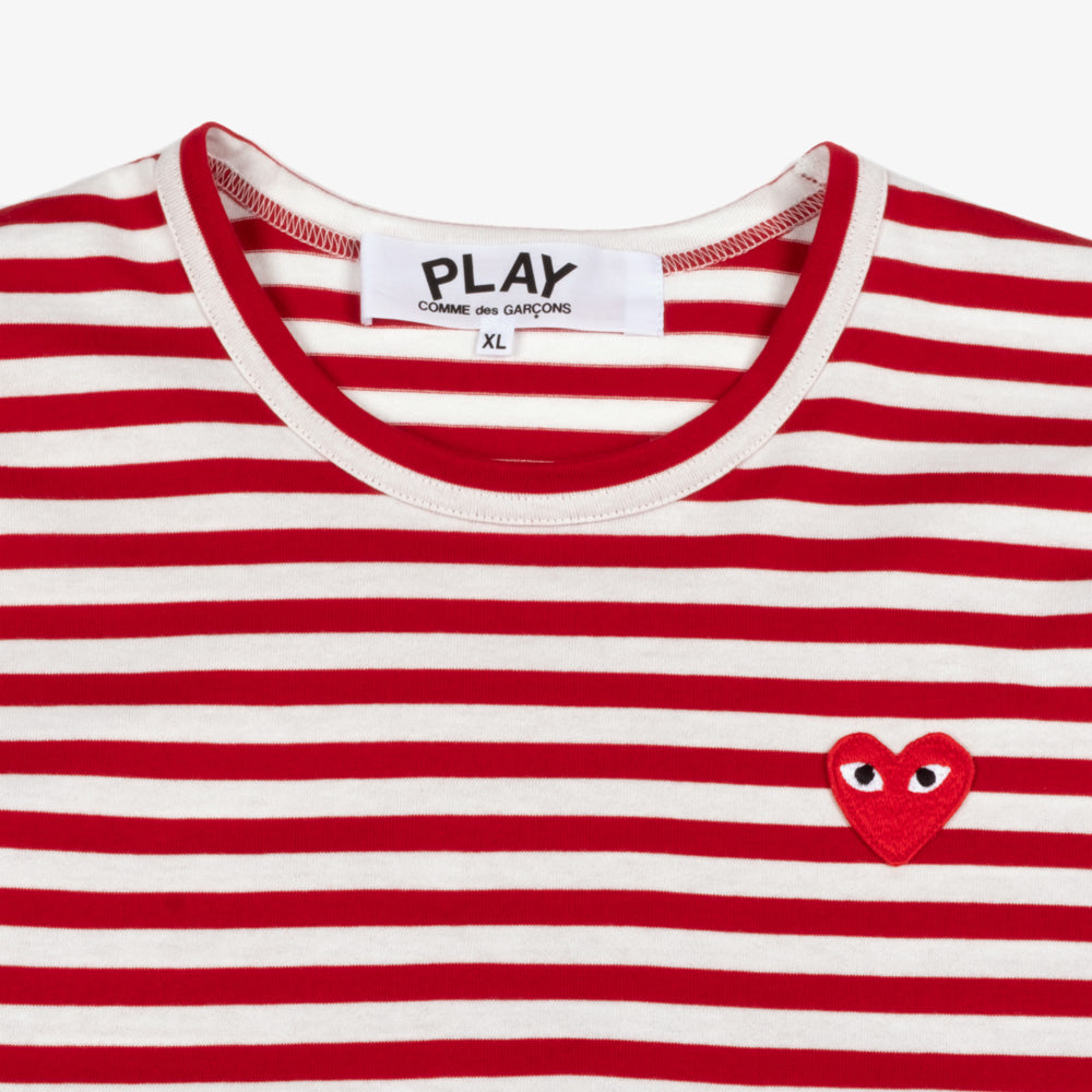 Comme des Garçons - PLAY L/S Stripe Red Heart Emblem Mens Tee - Red / White 2