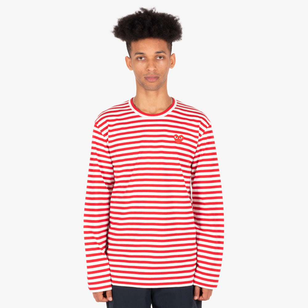 Comme des Garçons - PLAY L/S Stripe Red Heart Emblem Mens Tee - Red / White 4