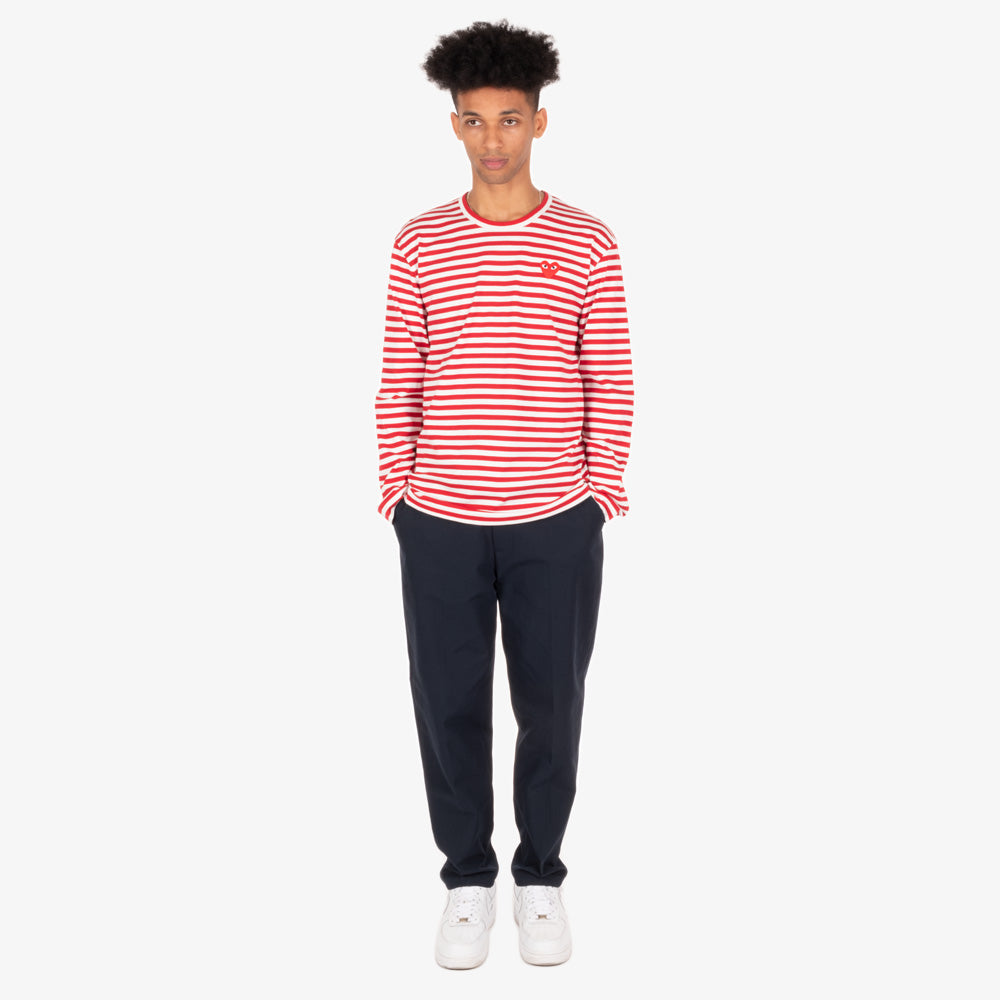 Comme des Garçons - PLAY L/S Stripe Red Heart Emblem Mens Tee - Red / White 5