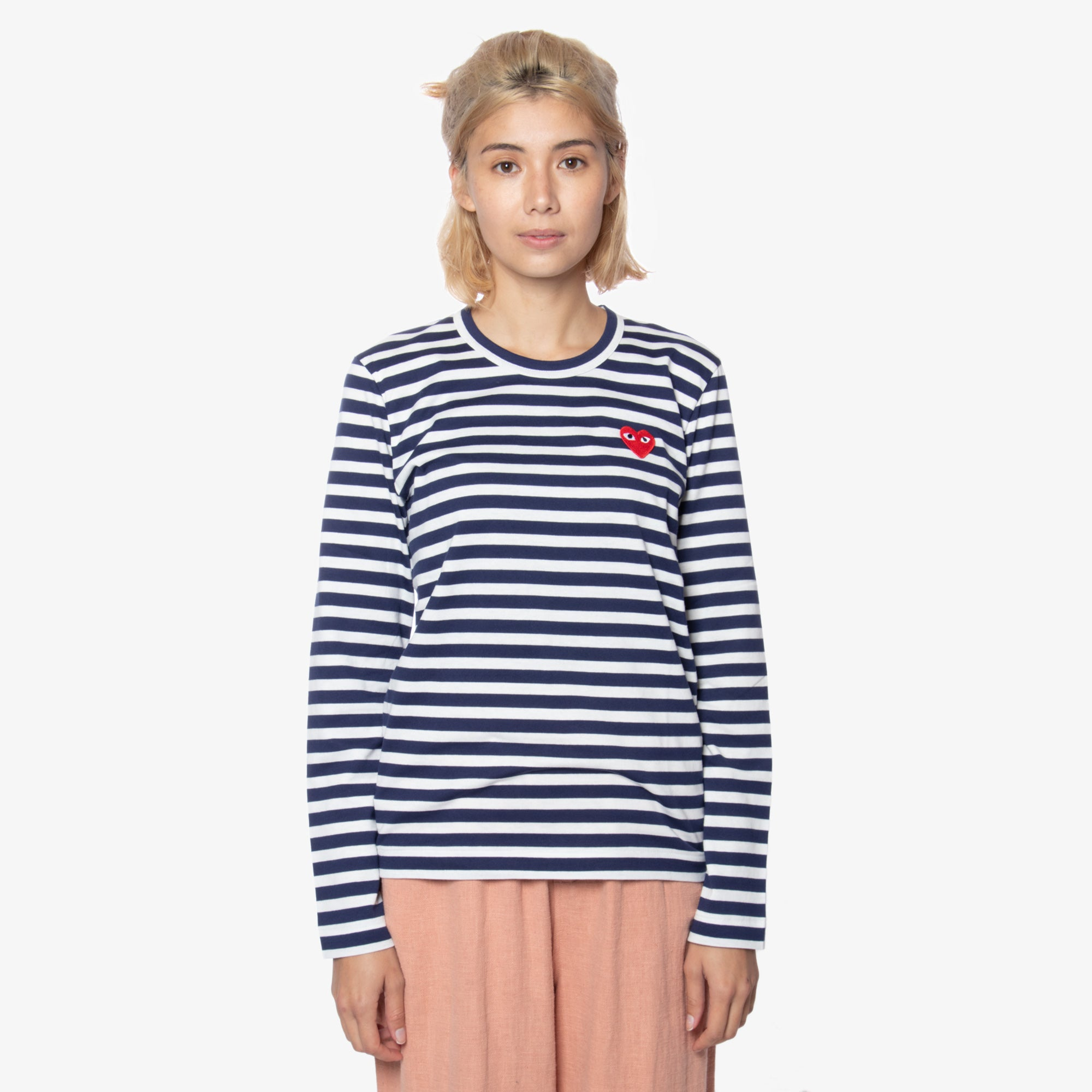Comme des Garçons - PLAY L/S Stripe Red Heart Emblem Womens Tee - Navy / White 1